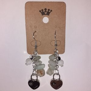 Amazonite + Agate Love Padlock Earrings